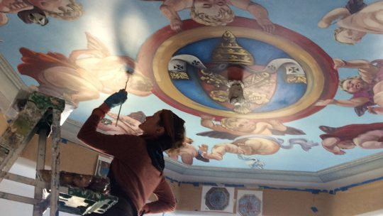 Morgan Bicca painting Putti Ceiling Square